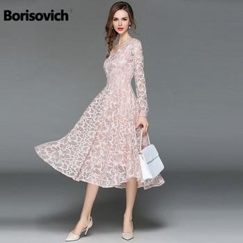 d4ccb116e9017 Borisovich Kadın Rahat Dantel Elbise Yeni 2018 Sonbahar Moda Uzun Kollu V  Yaka Zarif Ince A-line kadın Parti Elbiseler M398