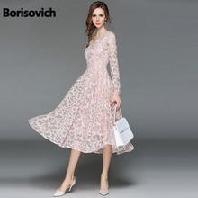 404264ca0c Borisovich kobiety koronkowa sukienka na co dzień nowy 2018 jesień moda z  długim rękawem
