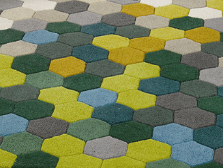 Superb Online Cool Tone Hexagon 100 Hand Tufted Acrylic Area Rug