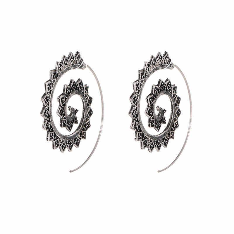 Punk Gold Splitter Hohl Spiral Ohrringe Frauen Damen Tribal Getriebe Ohrring Kreis Ohr Festival Schmuck