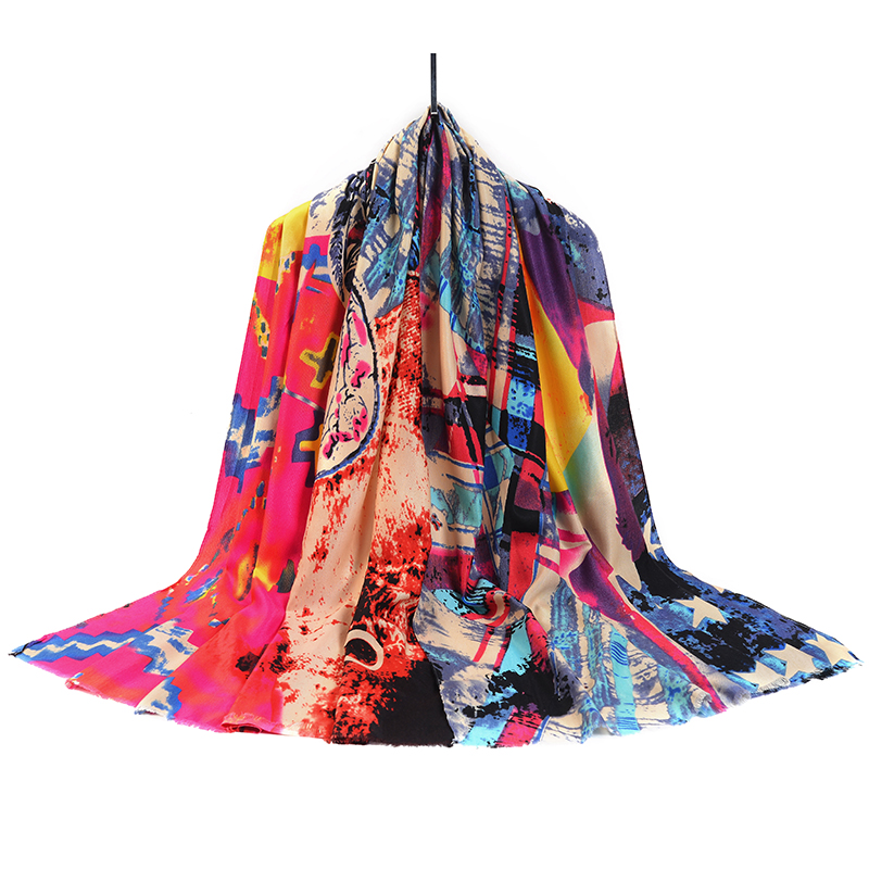 Scarf women 2017 hot sale fashion brand clothing accessories echarpe print colorful winter scarf cotton hijab 185cm * 90cm SF19