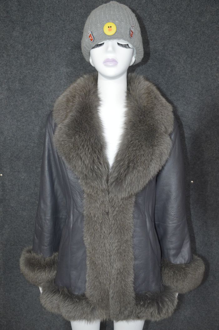 Luxury Italy women real leather coat genuine sheepskin lambskin fox fur collar trimming ladies female formal winter clothing