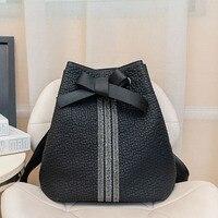 fashion new backpack leather women brand bow black student backpack travel large capacity teen female bag shoulder