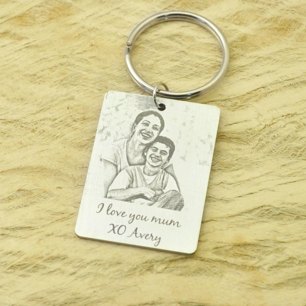 Custom Photo Keychain Keepsake Picture Key Ring Engraved Photo Keychain Christmas Gift For Her/Him  Photo Jewelry