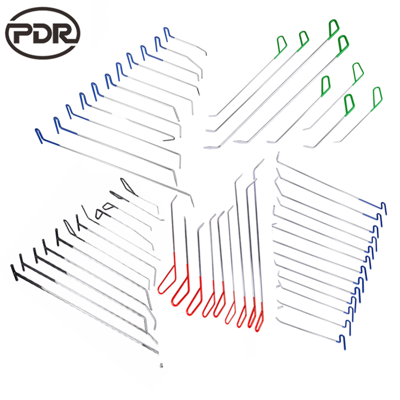PDR Tools Kit Hooks Push Rods Updated High Quality PDR Hooks Pump Wedge Paintless Dent Repair Tools Hand Tool Set pdr hooks crowbar tools push rods pdr spring steel rods tools dent paintless repair tools handtool hardware gift 2x pump wedge
