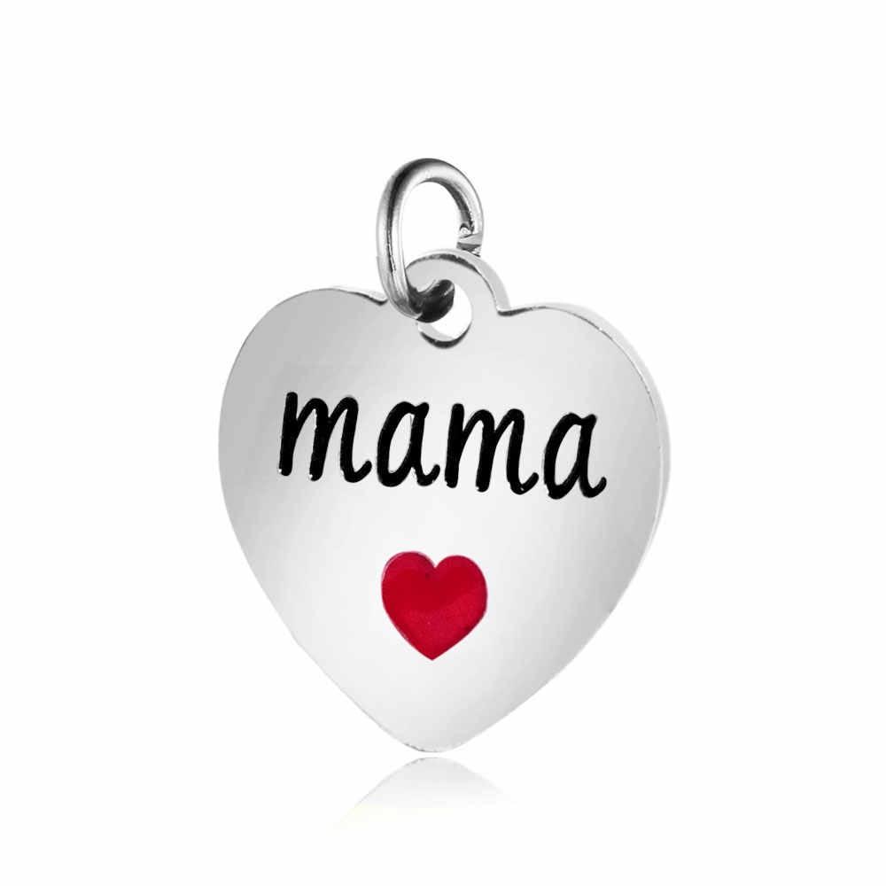 5 pçs/lote 316L Aço Inoxidável Encantos Amo você mais Mama Encantos Pingentes para Fazer Jóias Pulseira DIY Acessórios Feitos À Mão