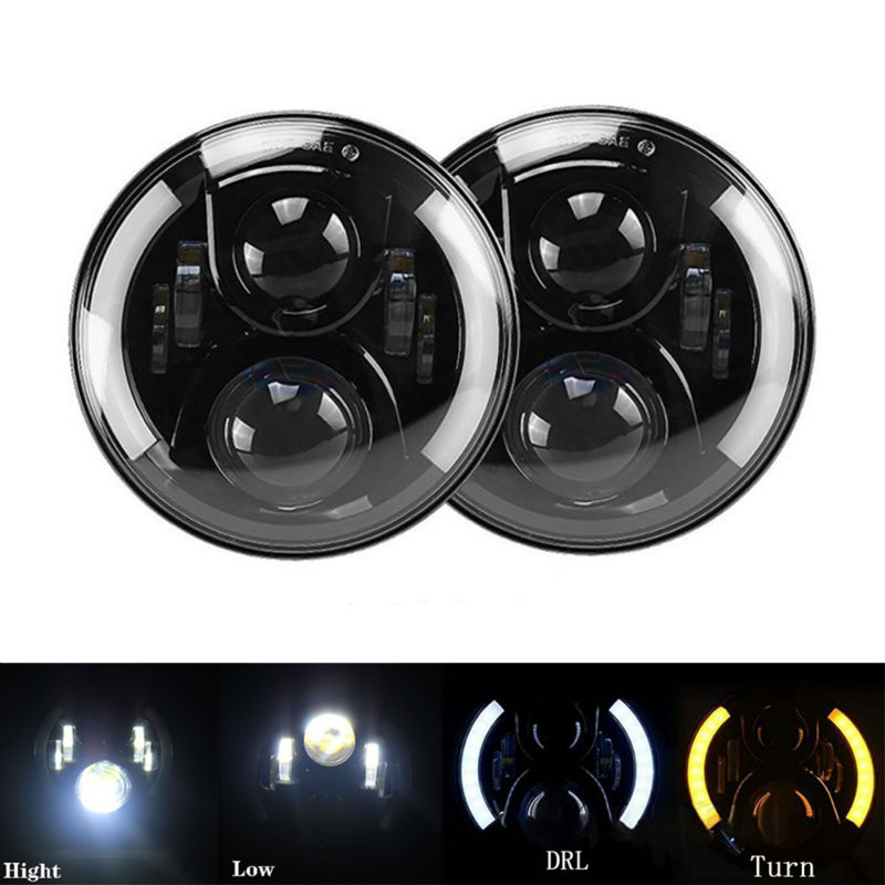 7inch Round Led Headlight H4 Hight Low Beam Daytime Running Light DRL Turn Headlamp for JEEP Wrangler Hummer Camaro FJ Cruiser black chrome 2pcs 7inch round 105w led headlight drl turn signal for jeep wrangler hummer 4x4 4wd suv driving headlamp