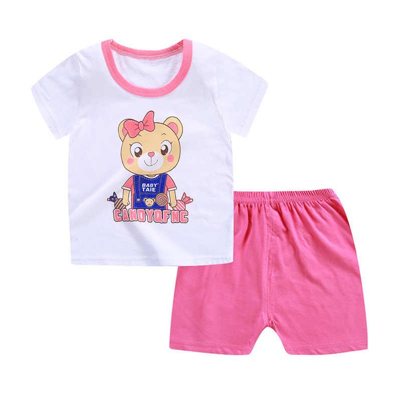 Conjunto de ropa de bebé de verano 2019 a la moda 100% de algodón de dibujos animados para niños conjunto de ropa para niños y niñas venta al por menor