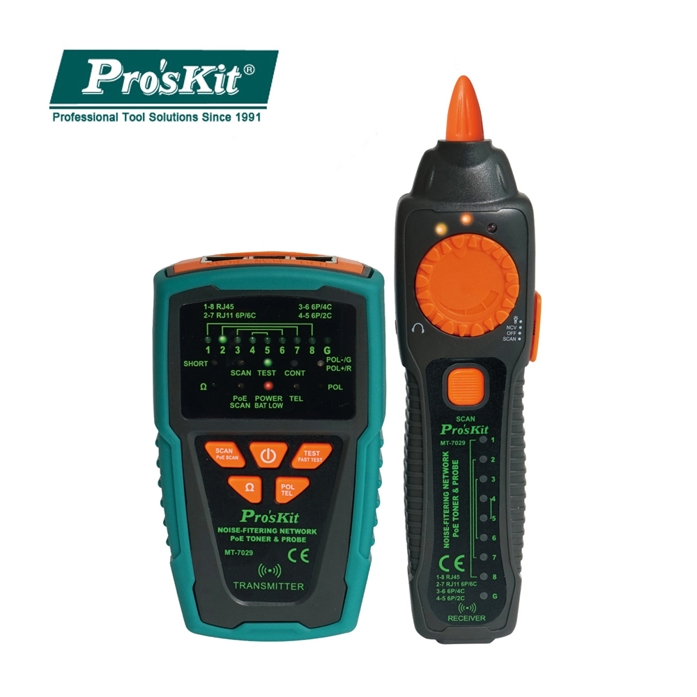 Pro'skit MT-7029-C Anti-Interference Audio Network POE Check Line Network Cable Tester For Wire Telephone Line Detector Tracker