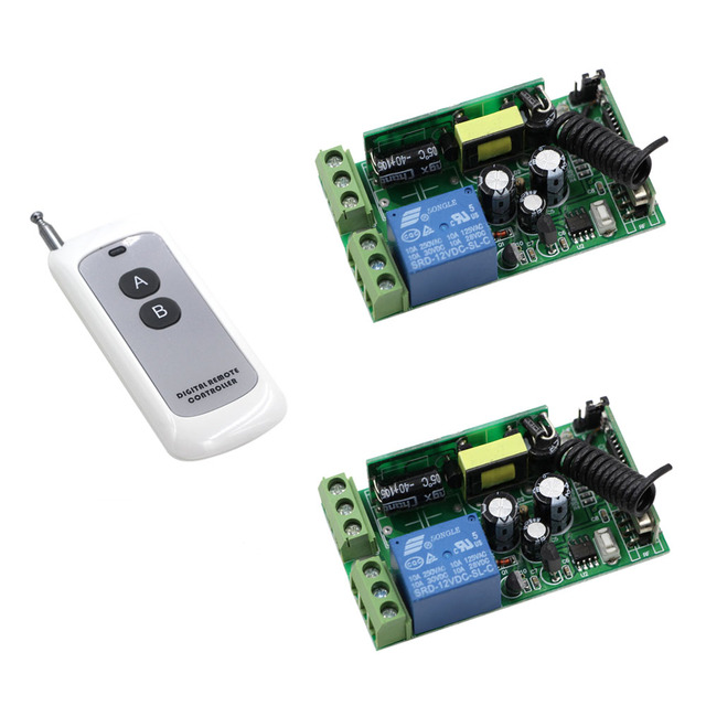New Product AC85V 110V 220V 250V 1CH 10A RF Radio Remote Control Switch 2pcs Receivers & 2 Button Transmitter Smart Home Switch
