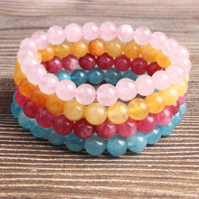 LanLi  fashion natural Jewelry multicolor Ice crystal powder loose beads Bracelet Charms Men Strand Beads Yoga Women Bracelets