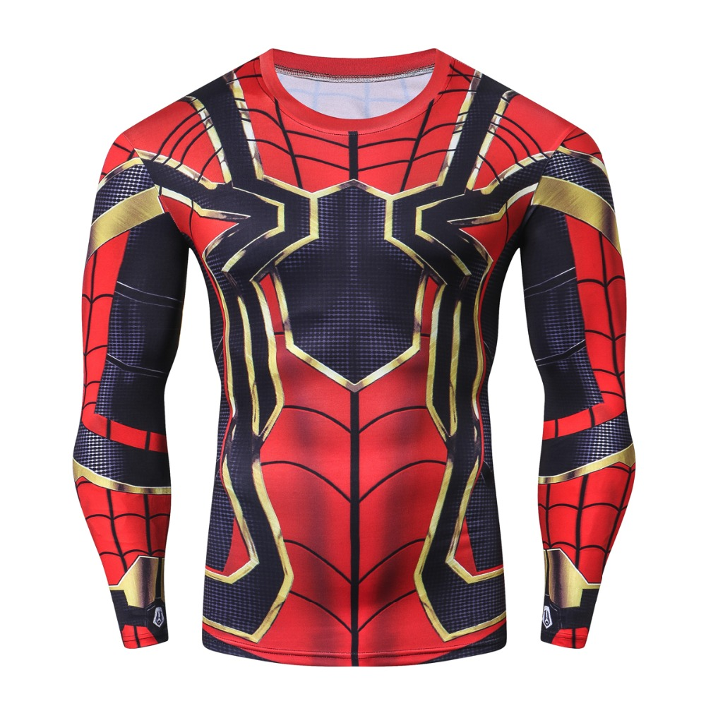 New Fashion Marvel SuperHero Spiderman Men T Shirt Fitness Crossfit Funny T-Shirt Men Long Sleeve Tshirt 3D Compression Tops Tee