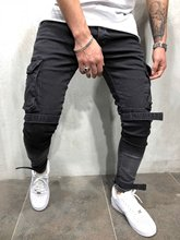 2018 New Arrived Men Cargo Pockets biker jeans denim slim supper skinny hip hop men