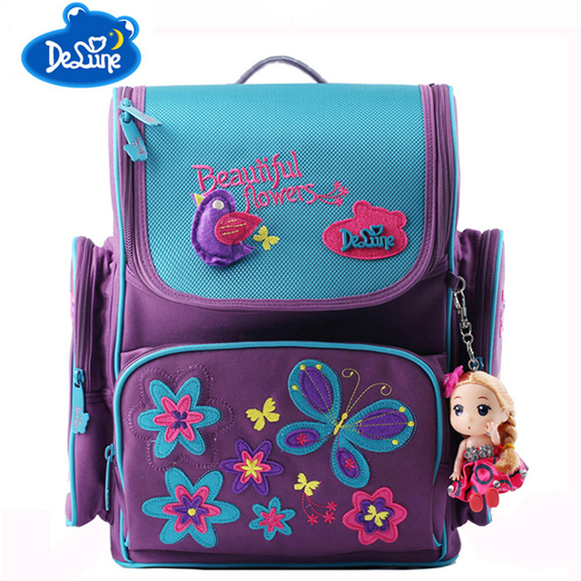 6f604f6a1d Delune School Bags for Girls Brand Children Backpack High Quality Bookbag Primary  Students Backpacks Princess Schoolbag