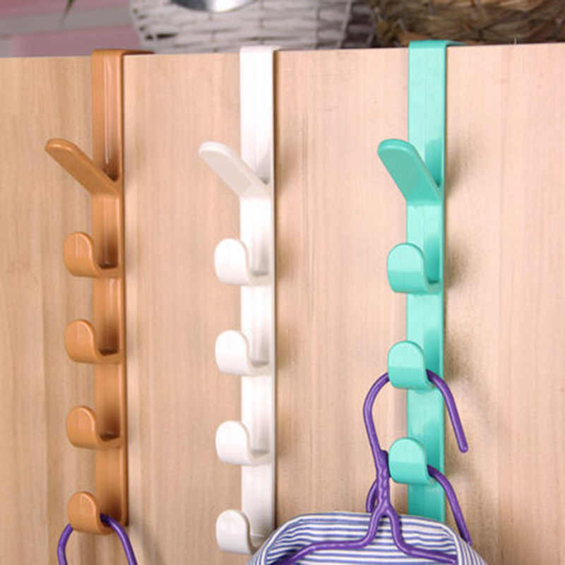 Newl Plastic Door Hooks Over Cabinet Drawer Room Door Hook Kitchen Bathroom Hanger Hook Coat Clothes Hook (Random Color)