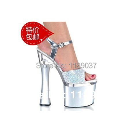 New 2016 European and American Large size ultra thin high heels 20CM transparent crystal with sandals wedding shoes 2016 spring new european and american fashion shoes thick with fish head shoes nightclub new ultra high heels sandals b454