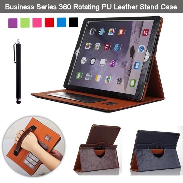 360 градусов вращающийся стенд многофункциональный бумажник смарт-чехол фолио кожаный чехол ж / ремешок для Apple iPad 1 9.7 ''