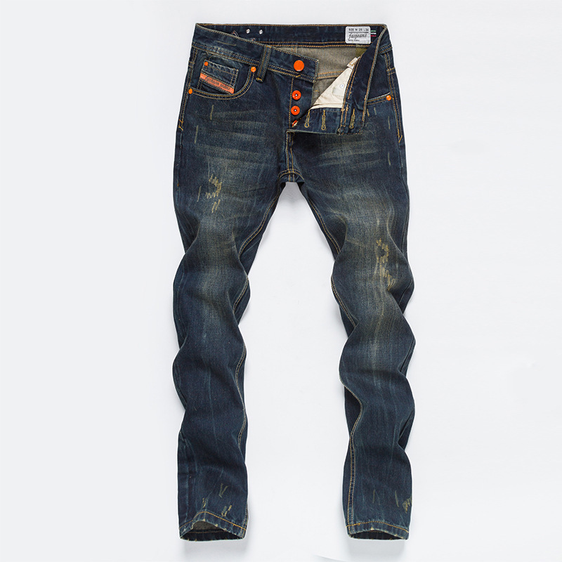 CLASSDIM Men Cotton Denim Jeans New Fashion Male Regular Casual Long Jeans Cowboy Trousers Denim Pants Size 40 men s cowboy jeans fashion blue jeans pant men plus sizes regular slim fit denim jean pants male high quality brand jeans