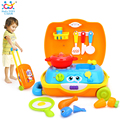 HUILE TOYS 2016 New Baby Toys Traveling Picnic Cooking Suitcase Toy included stove, utensils, plates,  toy meal, bacon, and eggs