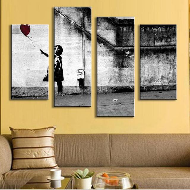 4 P Banksy Art There Is Always Hope modern abstract oil painting ...
