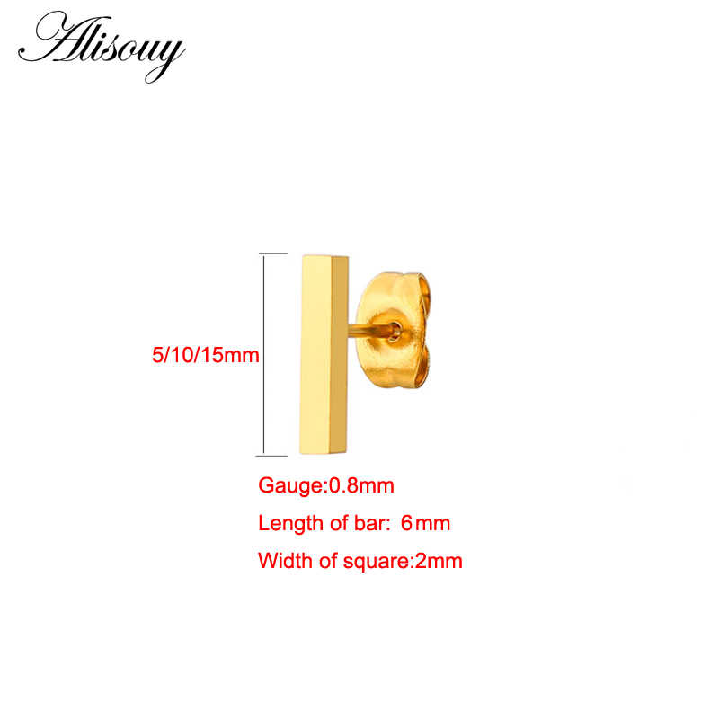 Alisouy 2PC 20g Minimalist Brief Gold/Silver/Rose Gold Square Bar Stud Earrings For Women Femme Bijoux 5/10/15mm length bar