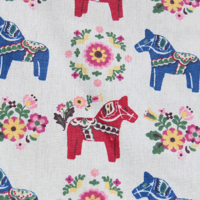 Horses Print – Decorative Tablecloth – Cotton Linen and Lace
