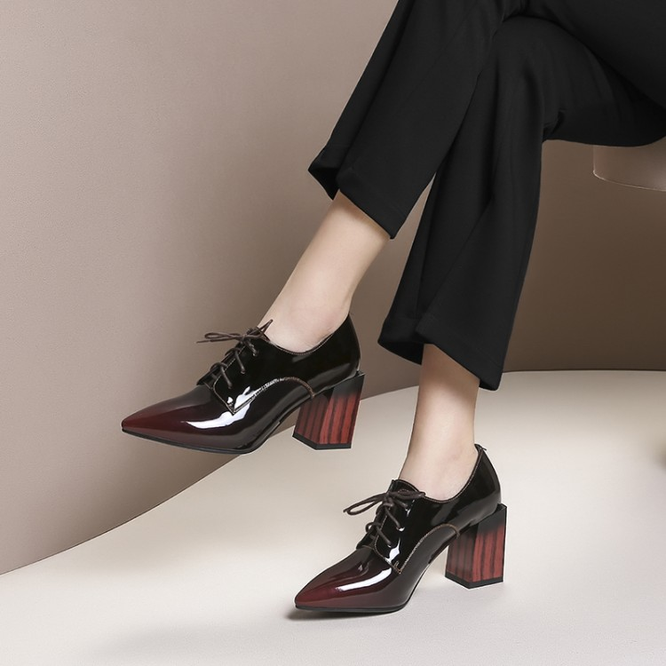 MLJUESE 2019 women pumps autumn spring cow leather Rome style lace up wine red color high