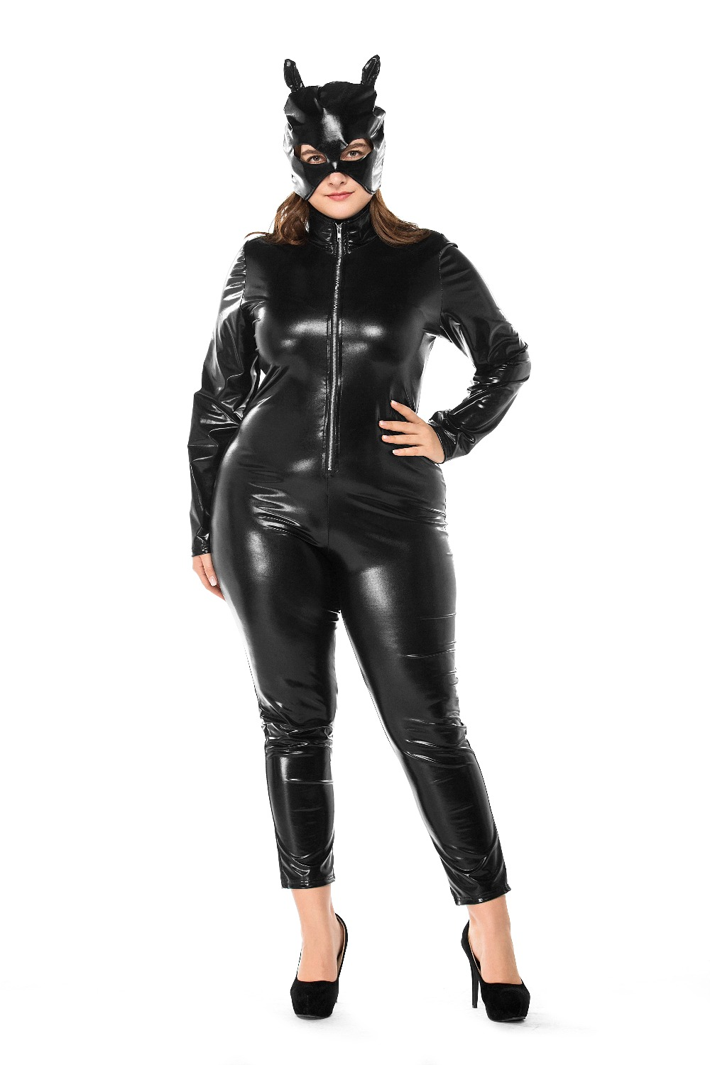 Plus size Sexy Cat Women Latex Catsuit Black Wet Look Faux Leather Bodysuit Erotic Bodycon Jumpsuit Lingerie High Stretch A001