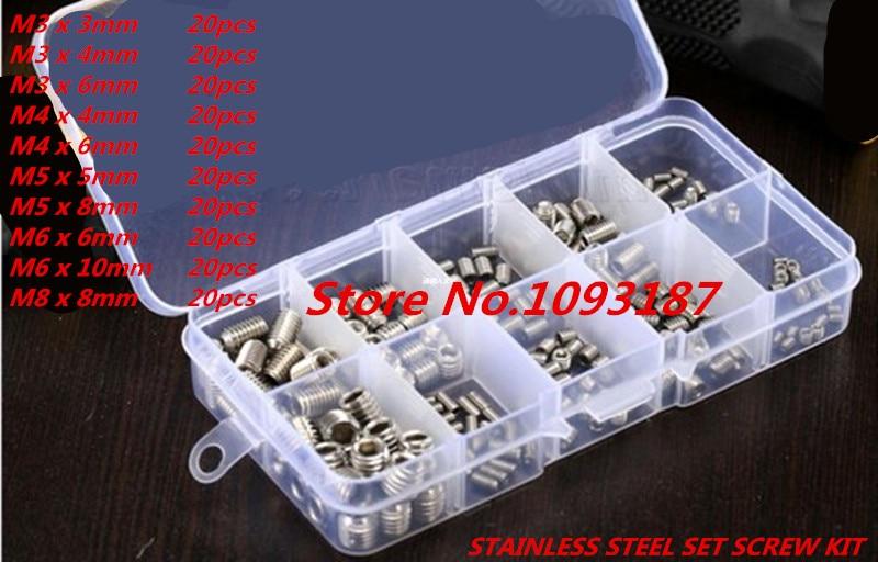 200pcs/lot DIN916 M3,M4.M5.M6.M8 Stainless Steel DIN916 Hex Socket Set Screw Kit free with box 20pcs m3 6 m3 x 6mm aluminum anodized hex socket button head screw