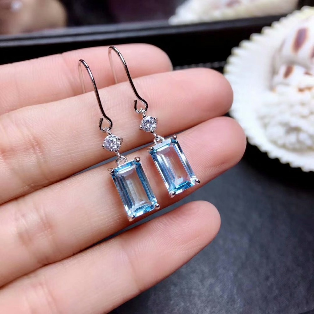shilovem 925 silver sterling natural Blue topaz Drop Earrings line trendy  fine Jewelry new wholesale women 6*10mm me061089agbshilovem 925 silver sterling natural Blue topaz Drop Earrings line trendy  fine Jewelry new wholesale women 6*10mm me061089agb