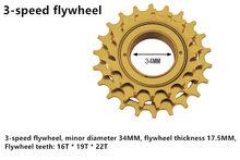 3 velocidade do volante 16 t-19 t-22 t mountain bike volante da bicicleta dobrável volante da bicicleta de estrada volante