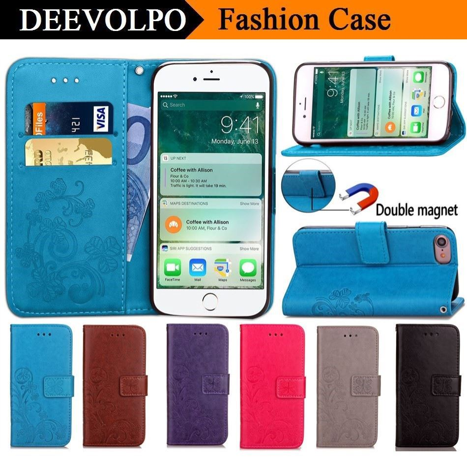DEEVOLPO Leather Case For Apple iphone X 8 7 6 6S Plus 7Plus 8Plus 6Plus 5 5S SE 4S Fundas Cover Lucky Clover Wallet Case D05F