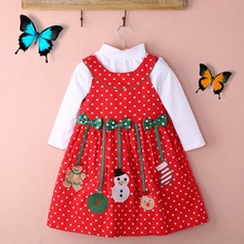 New Christmas Kids Girls Outfits 2pcs Polka-dot Dress + Long sleeve Tops Set 2-7Y Christmas costumes for Girls Children Clothing