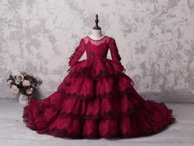 Купить бордовое кружевное пышное платье для девочек с оборками в несколько