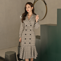 Осенне-зимнее офисное женское платье с оборками в клетку, длинное женское платье с v-образным вырезом, двубортный пояс, элегантное женское п...