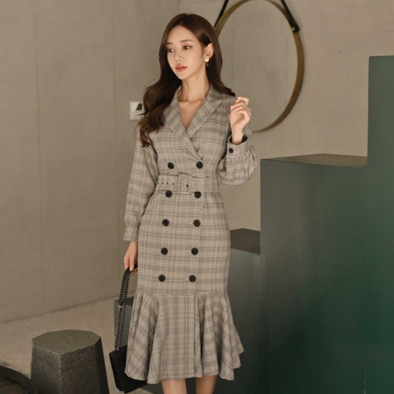 Осенне-зимнее офисное женское платье с оборками в клетку, длинное женское платье с v-образным вырезом, двубортные пояса, элегантное женское платье, Повседневное платье