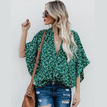 2019 New Fashion Woman Top Loose Long Batwing Sleeve Floral Print Long Women Tops  Women's Shirts Boho Beach korean Clothes floral print batwing sleeve dip hem top