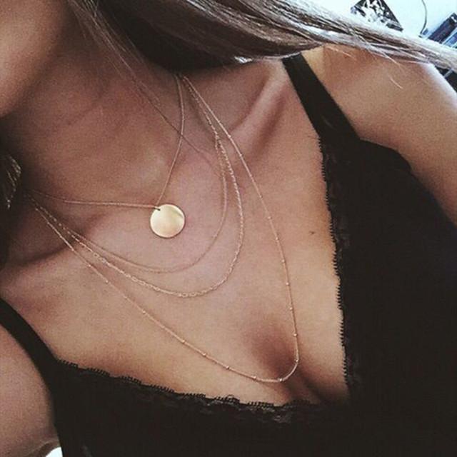 New fashion trendy jewelry copper choker multi layer necklace gift for women Boho Layering Chokers Chockers girl x242