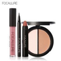 FOCALLURE Black Eyeliner Pencil Matte Lip Gloss Face Bronzer Highlighter Palette New 4Pcs Easy Lip Makeup