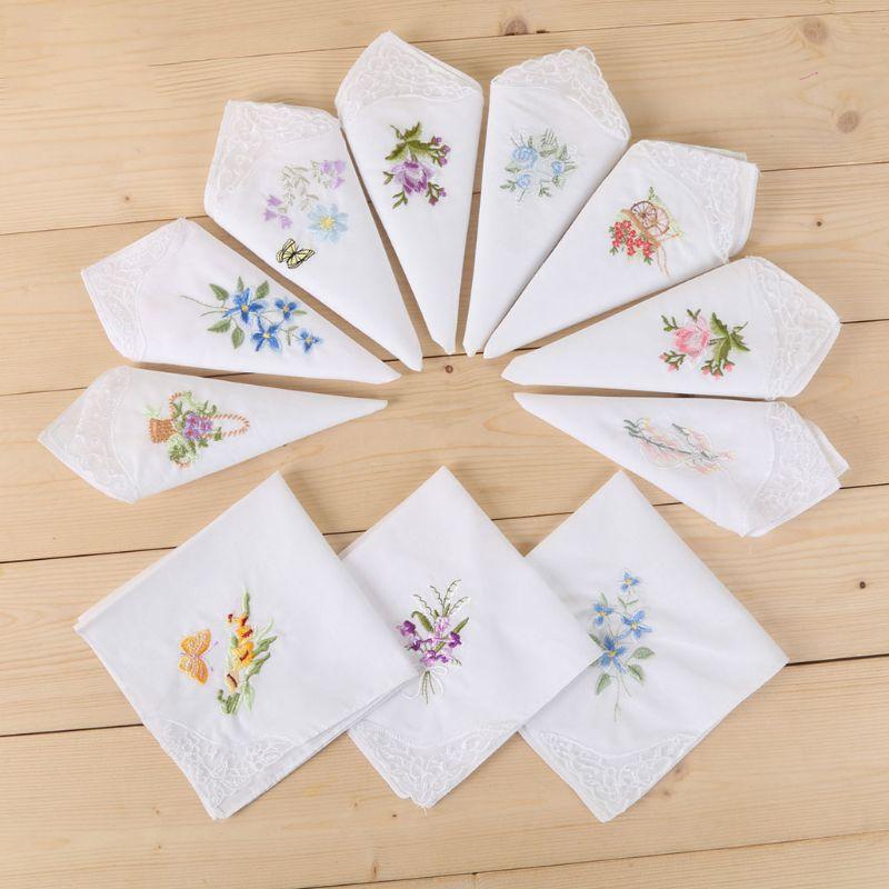 Frauen Grundlegende Weißes Quadrat Taschentuch Floral Gestickte Tasche Hanky Schmetterling Spitze Baumwolle Baby Lätzchen Tragbare Handtuch Serviette
