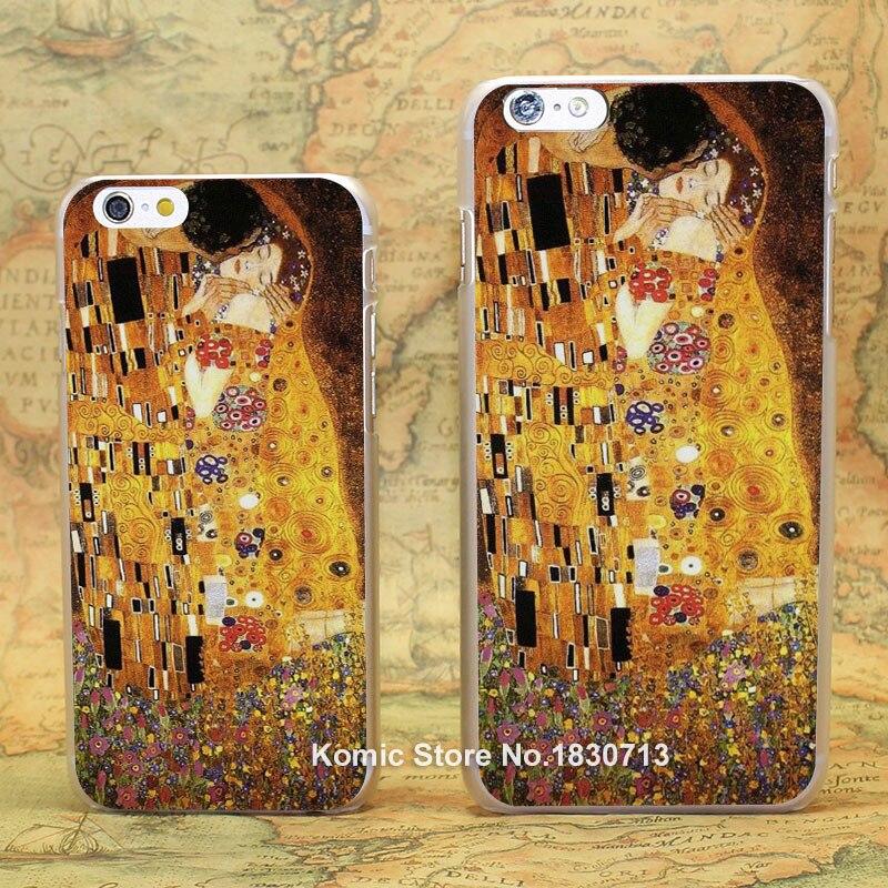 Поцелуй Густава Климта Дизайн жесткий прозрачный Кожи, Чехол для Apple iPhone 7 6 6s плюс 8 8 плюс SE 5 5S 4 4S 5c
