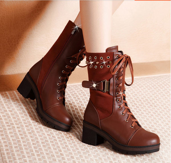 2013 Winter Wine Red Wool Martin Boots Women'S Square Heel High-Heeled Short Boots Female Round Toe Lace Platform Shoes H1486