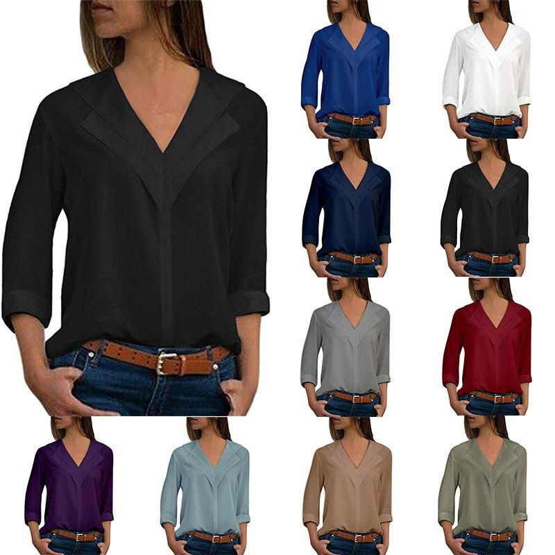 S-5XL autumn spring chiffon shirts pure color women long sleeve v neck plus size