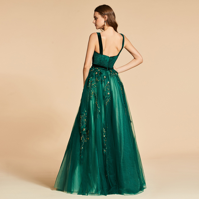 Dressv green long evening dress elegant spaghetti strap beading zipper up wedding party formal dress lace evening dresses 2
