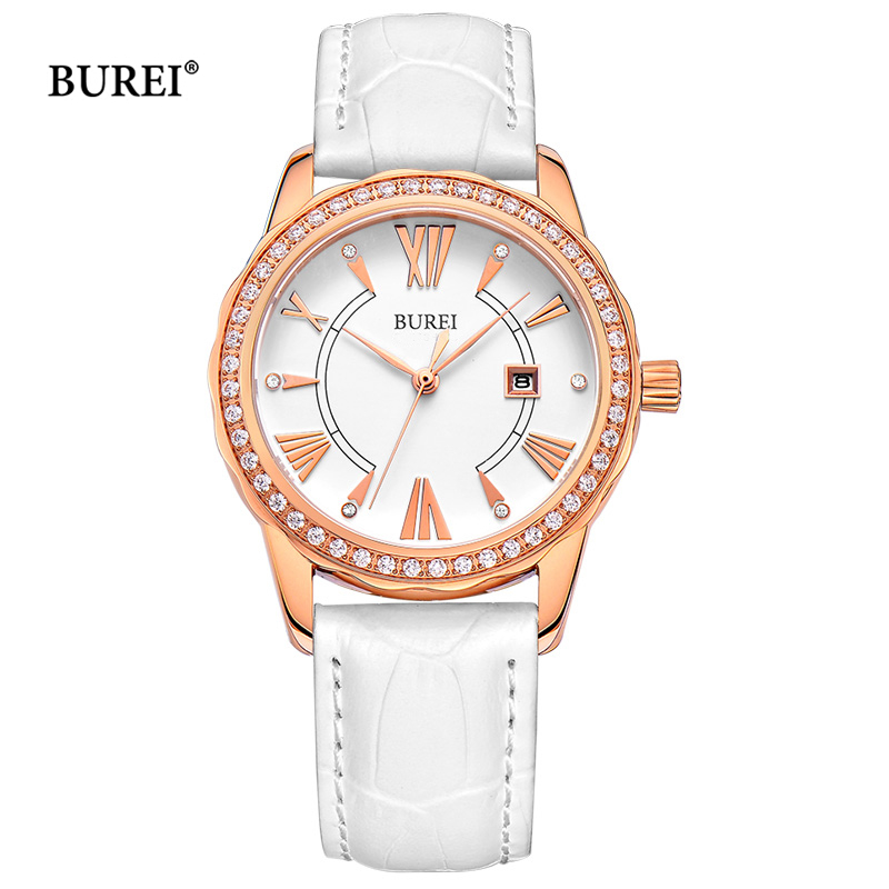 BUREI Women Watches Waterproof Fashion Rose Gold Sapphire Crystal Ladies Calendar Quartz Wrist Watch Clock Saat Relogio Feminino casima brand women watches waterproof fashion casual rose gold bracelet quartz ladies wrist watch clock saat relogio feminino