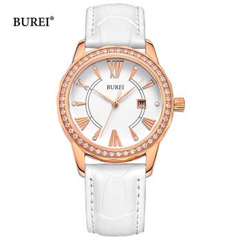 BUREI Women Watches Waterproof Fashion Rose Gold Sapphire Crystal Ladies Calendar Quartz Wrist Watch Clock Saat Relogio Feminino