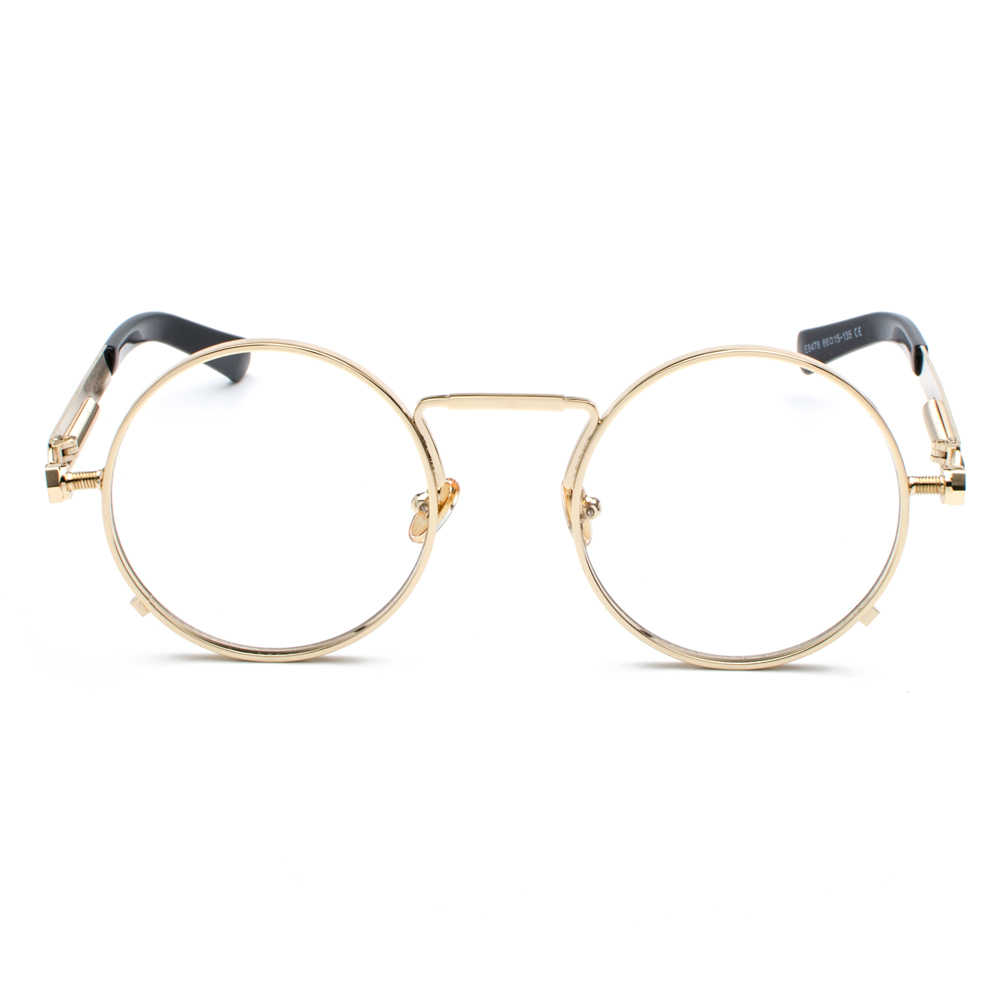 79982482f96 ... Peekaboo vintage steampunk glasses round men gold fashion retro round  circle metal frame eyeglasses frame for ...