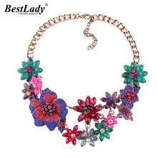 Best lady Fashion 5 Color Flower Crystal Brand Necklaces Gifts Gem Luxury Choker Necklaces Pendants Maxi Statement Jewelry(China)