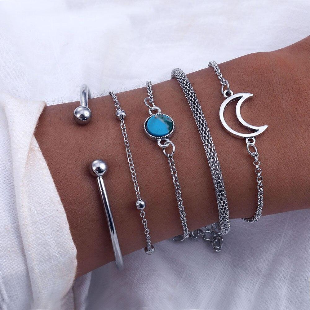Vienkim один набор винтажные манжеты серебряные браслеты наборы для женщин Богемия луна браслет-цепочка 2019 Ювелирные изделия Подарки