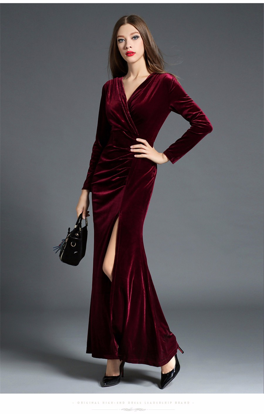 17 Autumn Winter Evening Party Dresses Red Velvet Dress Women Sexy High Split Long Maxi Dresses Christmas Runway Vestido Longo 13